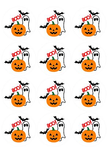 Boo! Halloween Round Glossy Stickers - 12 pcs set