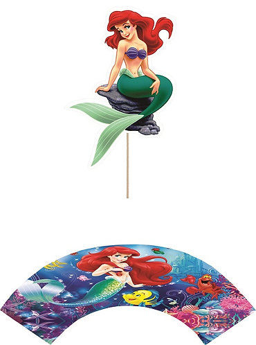 Princess Ariel Little Mermaid Rock Cupcakes Toppers or Wrappers - 12 or 24pcs