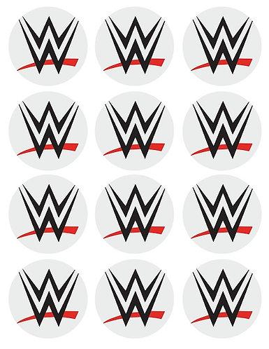 WWE Logo Round Glossy Stickers - 12 pcs set