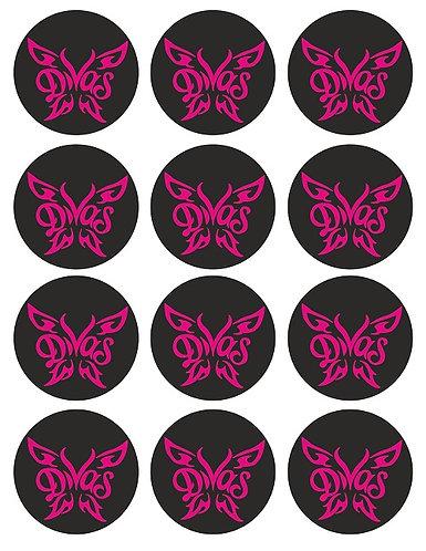 WWE Divas Logo Round Glossy Stickers - 12 pcs set