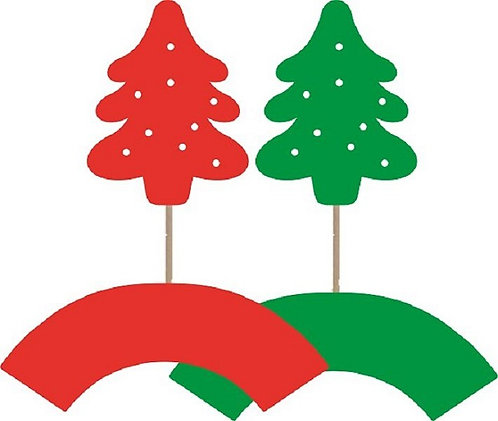 Green Red Christmas Trees Cupcakes Toppers or Wrappers -12 or 24 pcs