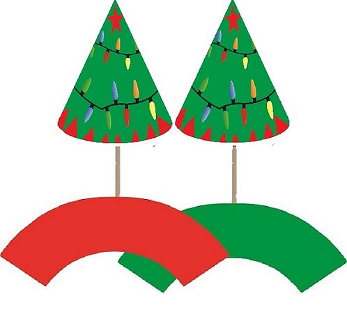 Christmas Tree with Lights Cupcakes Toppers or Wrappers -12 or 24 pcs