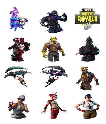 Fortnite Characters Logo Round Glossy Stickers - 12 pcs set