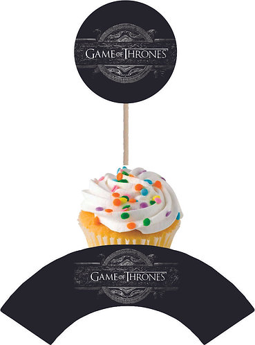 Game of Thrones Round Cupcakes Toppers or Wrappers -12 or 24 pc