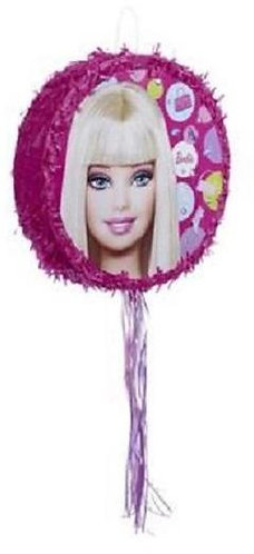 Barbie Birthday Party Pull Strings Pinata Round -35 cm