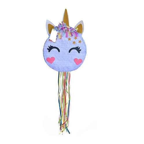 Heart Cheeks Unicorn Birthday Party Pull Strings Pinata - 40cm