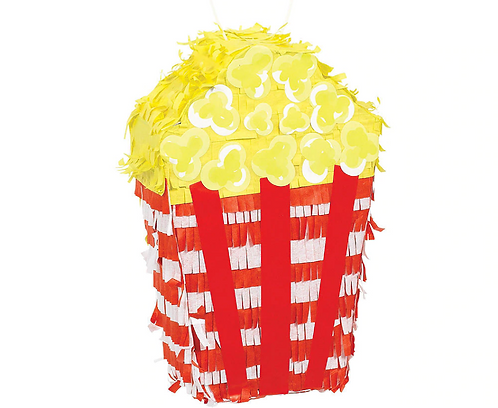 Popcorn Birthday Party Pull Strings Pinata - 40cm