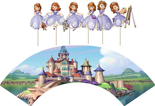 Princess Sofia the First Characters Cupcakes Toppers or Wrappers -12 or 24 pcs