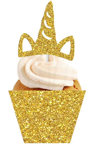 Gold Unicorn Horn Shape Cupcakes Toppers or Wrappers -12 or 24pcs