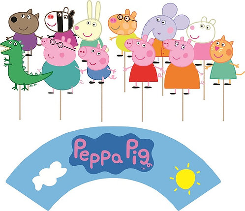 Peppa Pig Characters Cupcakes Toppers or Wrappers -12 or 24 pcs