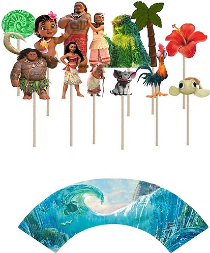 Moana Characters Cupcakes Toppers or Wrappers -12 or 24 pcs