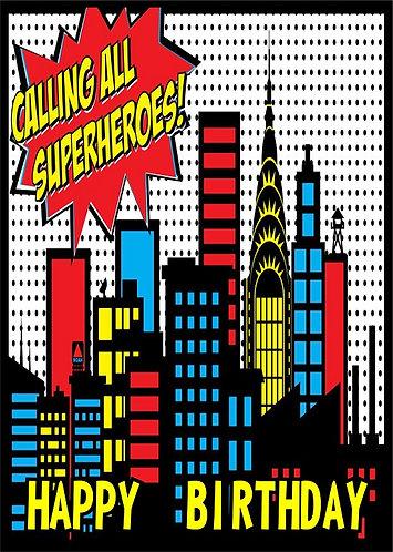 Superheroes HAPPY BIRTHDAY Congratulation Card