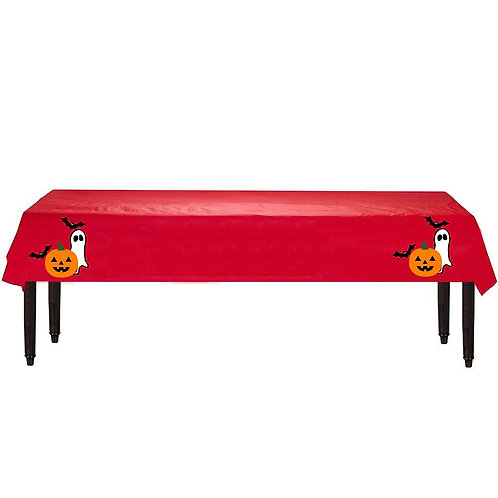 Halloween Plastic Table Cover with Stickers - 140 cm x 275cm