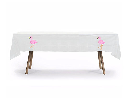 Flamingo Plastic Table Cover with Stickers - 140 cm x 275 cm