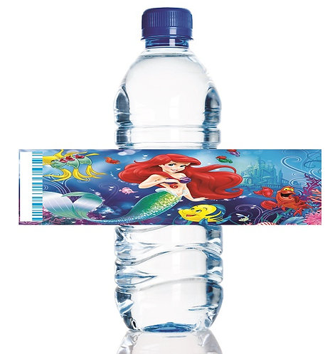 Princess Ariel Beauty and the Beast Water Bottles Stickers - 6 pcs set