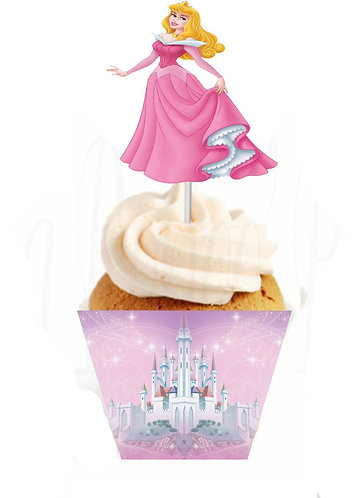 Princess Aurora Sleeping Beauty Characters Toppers or Wrappers - 12 or 24pcs