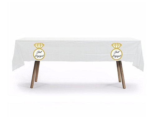 Just Engaged Ring Wedding Plastic Table Cover with Stickers - 140 cm