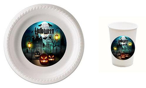 Halloween Castle Plastic Plates with Cups - 12 pcs set