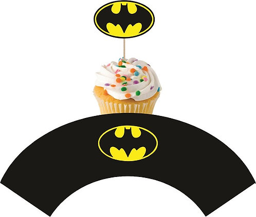 Batman Logo Cupcakes Toppers or Wrappers -12 or 24 pcs