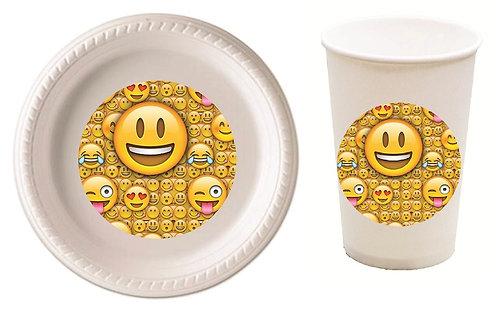 Emoji Plastic Plates with Cups - 12 pcs set