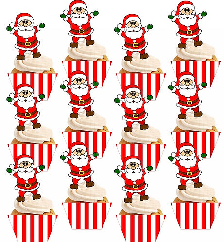 CHRISTMAS Santa Cupcakes Toppers or Wrappers - 12 or 24pcs