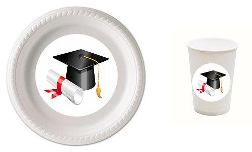 Graduation Plastic Plates with Cups - 12 pcs set