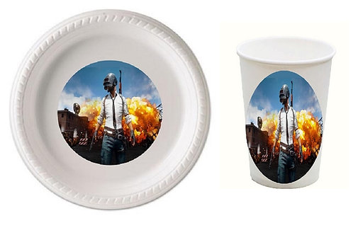 PUBG Game Plastic Plates with Cups