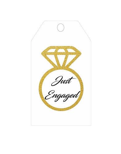 Just Engaged Wedding Gifts Tags - 12 pcs set