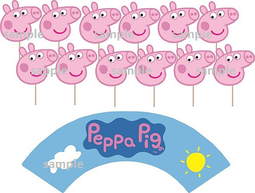 Peppa Pig Head Cupcakes Toppers or Wrappers -12 or 24 pcs