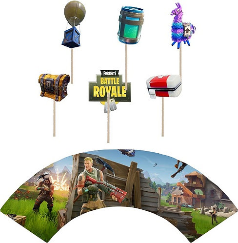 Fortnite Game Cupcakes Toppers or Wrappers -12 or 24 pcs