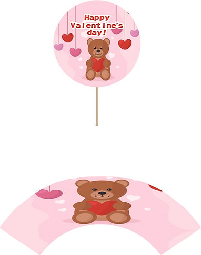 Valentines Day Teddy Bear Cupcakes Toppers or Wrappers - 12 or 24 pcs