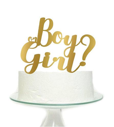 Boy or Girl Baby Shower Gender Reveal Big Topper for Cake - 1 pcs set