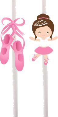 Cute  Pink Ballerina Cakepops Toppers - 12 pcs set