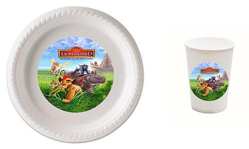 Lion King Lion Guard Plastic Plates with Cups - 12 pcs set