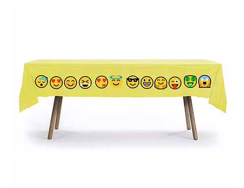 Emoji Plastic Table Cover with Stickers - 140 cm x 275 cm