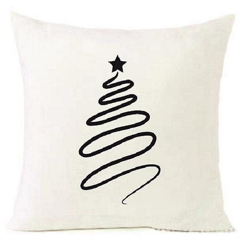 Christmas Tree Black Cushion Decorative Pillow COTTON OR LINEN -40cm