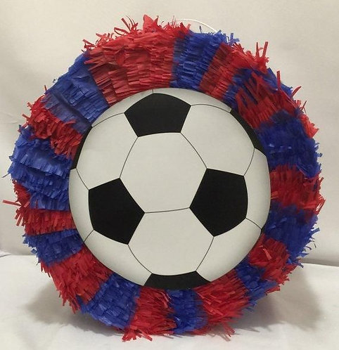 Blue Red Sports Football Soccer Birthday Party Pull Strings Pinata -35 cm