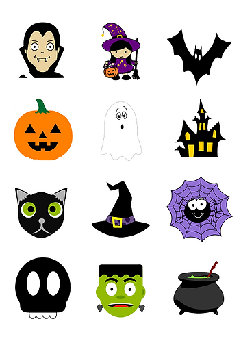 Halloween Characters Round Glossy Stickers - 12 pcs set