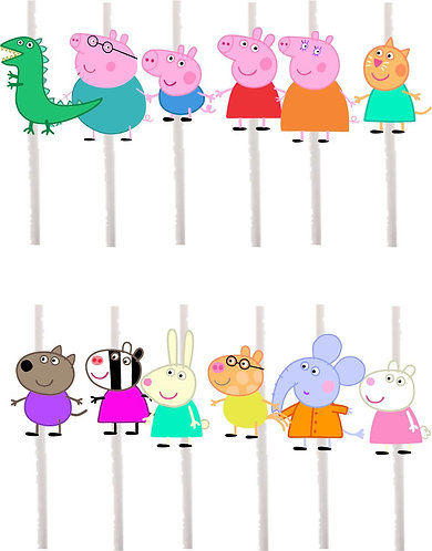 Peppa Pig Characters Cakepops Toppers - 12 pcs set