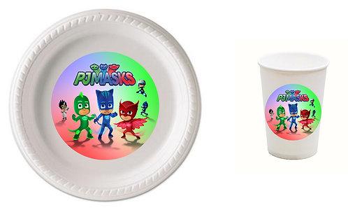 PJ Masks Plastic Plates with Cups - 12 pcs set
