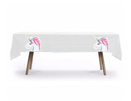 Unicorn Head Plastic Table Cover with Stickers - 140 cm x 275cm