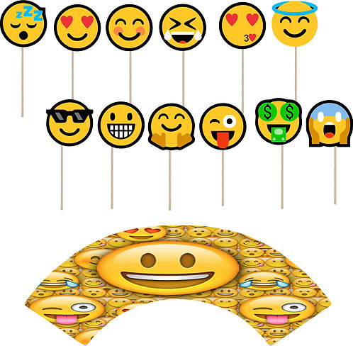 Emoji Cupcakes Toppers or Wrappers -12 or 24pcs