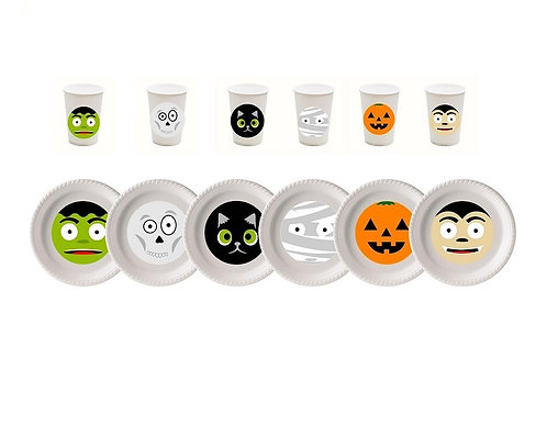 Cute Halloween Plastic Plates with Cups - 12 pcs set