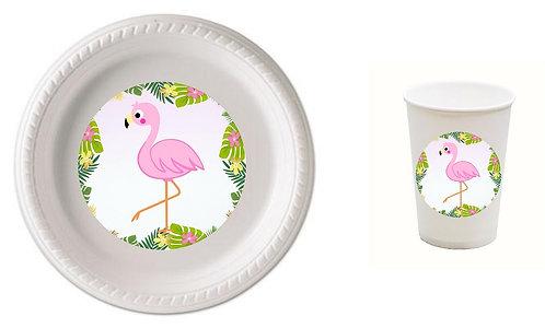 Flamingo Plastic Plates with Cups - 12 pcs set