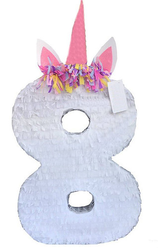 ANY NUMBER Unicorn Birthday Party Pull Strings Pinata - 40cm
