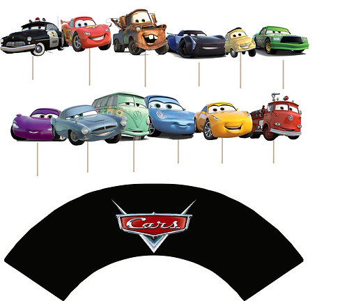 Cars Cupcakes Toppers or Wrappers -12 or 24 pcs