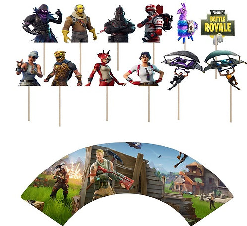 Fortnite Game Characters Cupcakes Toppers or Wrappers -12 or 24 pcs
