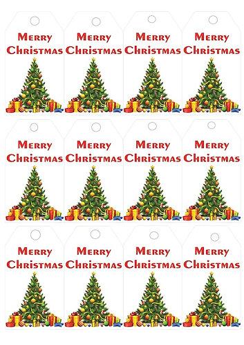 Merry Christmas Tree Gifts Tags - 12 pcs set
