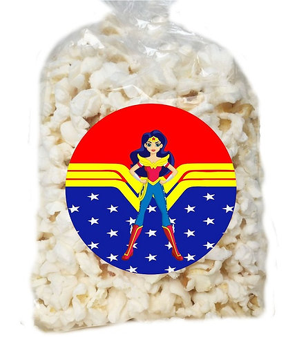 Wonder Woman DC Girls Giveaways Clear Bags for Popcorn or Candies - 12 pcs set