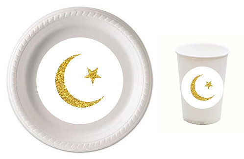 Ramadan Eid Plastic Plates with Cups - 12 pcs set